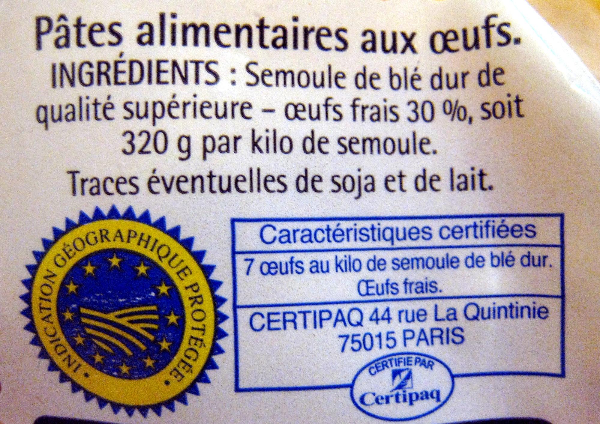 Pâtes d'Alsace (7 œufs frais au kilo), Macaroni - Ingrédients