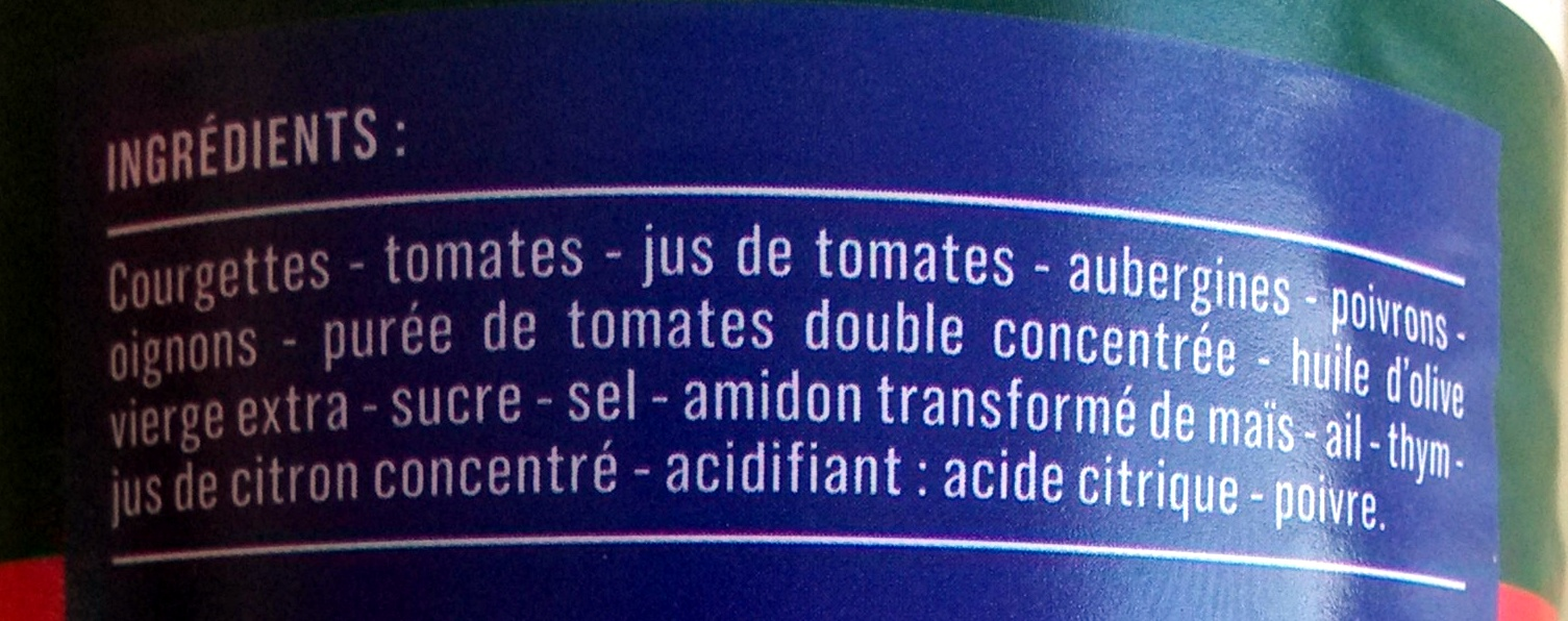 Ratatouille Provençale - Ingredients