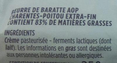 Beurre de baratte extra fin AOP Charente Poitou Monoprix Gourmet - Ingrediënten