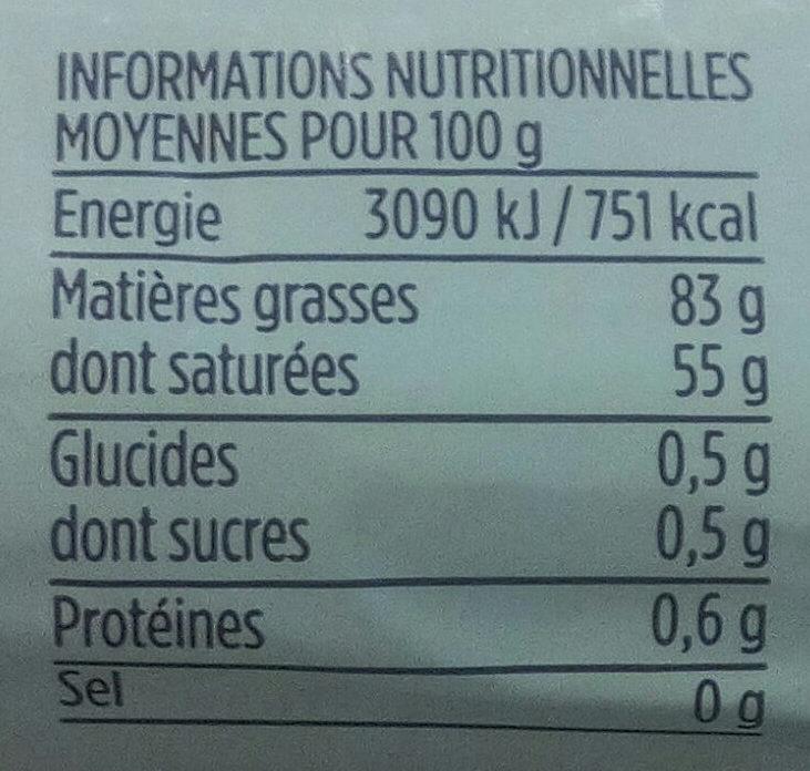 Beurre de baratte extra fin AOP Charente Poitou Monoprix Gourmet - Voedigswaarden