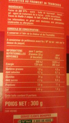Biscottes au froment - Informations nutritionnelles - fr