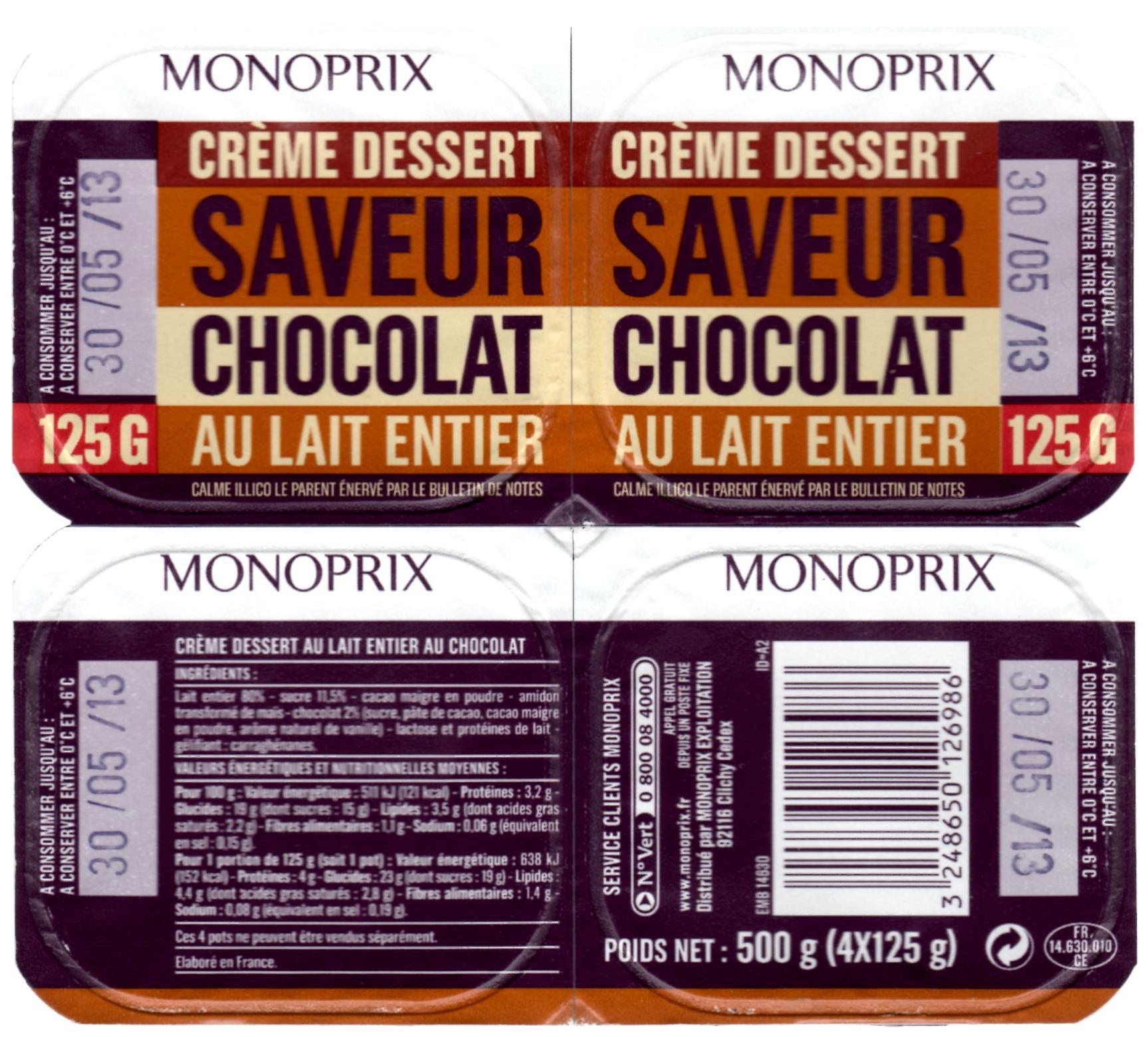 Crème dessert saveur chocolat au lait entier - Produit - fr