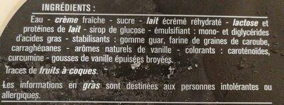 Crème glacée vanille - Ingrédients