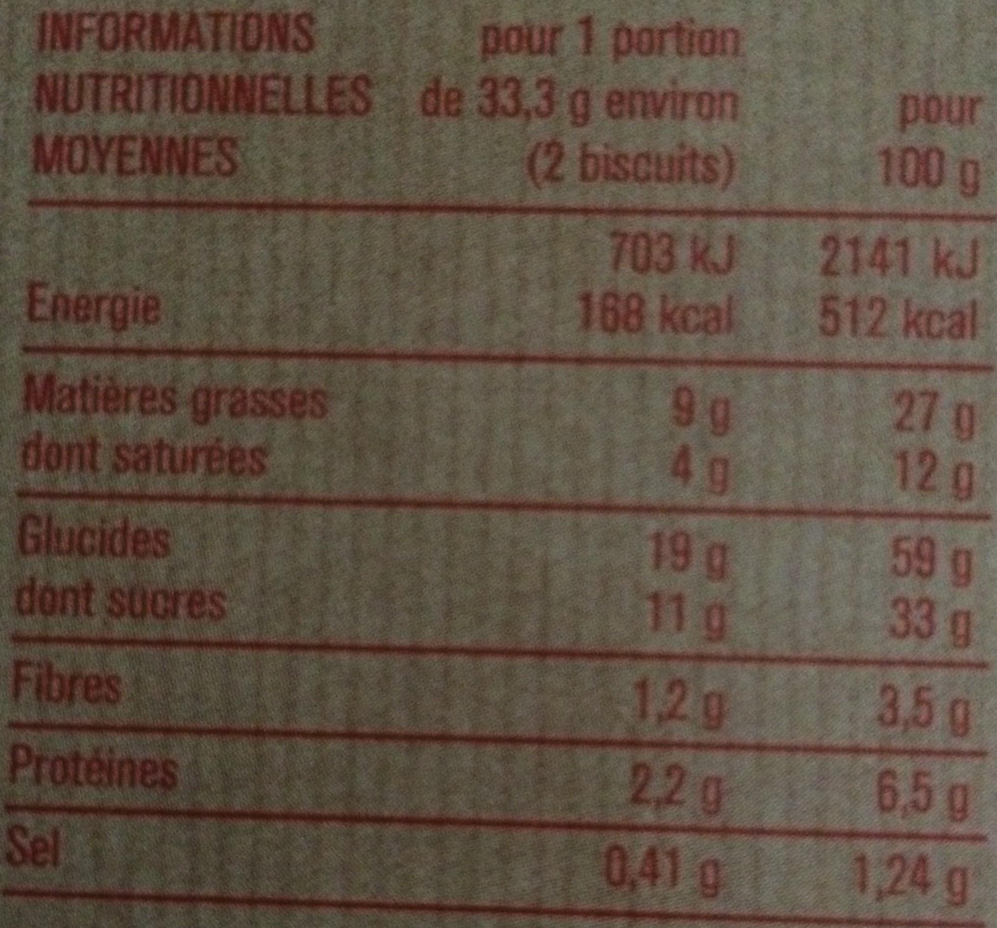 Cookies Nougatine Aux Pépites de Chocolat - Informations nutritionnelles