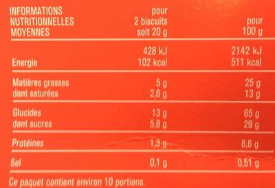 Biscuits nappés chocolat au lait - 营养成分 - fr