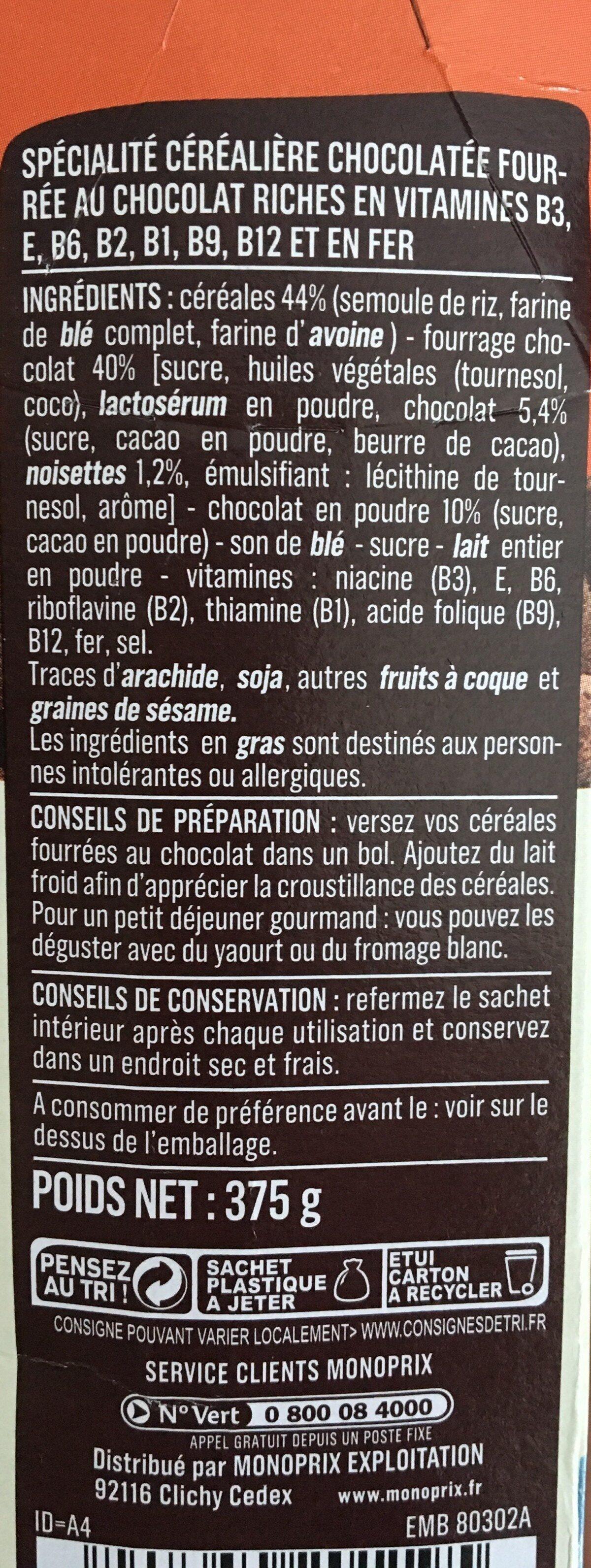 Céréales fourrées chocolat - Ingrédients