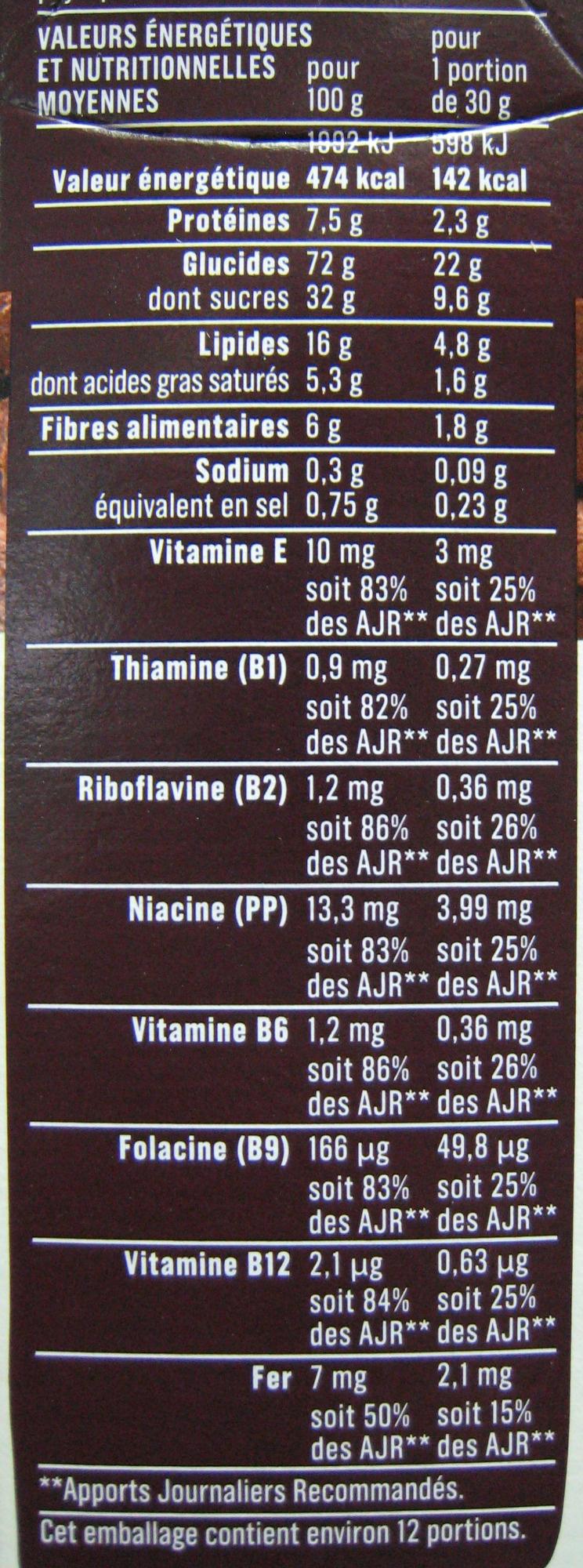 Céréales fourrées chocolat - Informations nutritionnelles