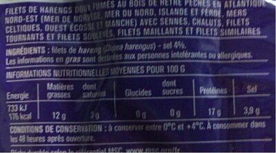 Filets de harengs, doux et fumés au bois de hêtre - Informations nutritionnelles - fr