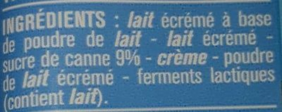Yaourt au Sucre de Canne - Ingredients