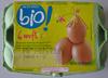 6 œufs de poules élevées en plein air (Moyen : 53/63 g) Bio   - Produit