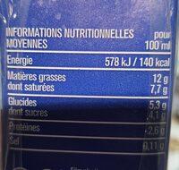 Crème fluide legere 12% - Informations nutritionnelles - fr
