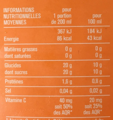 Premium 100% Jus d'orange - Voedingswaarden - fr