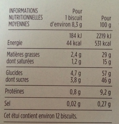 Meringués aux noisettes sur lit de chocolat au lait - Informations nutritionnelles