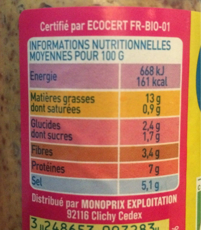 Moutarde à l'ancienne Bio - Nutrition facts - fr