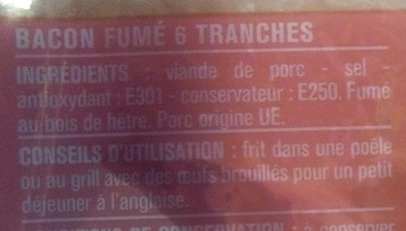 Bacon fumé à l'anglaise - Ingrediënten - fr