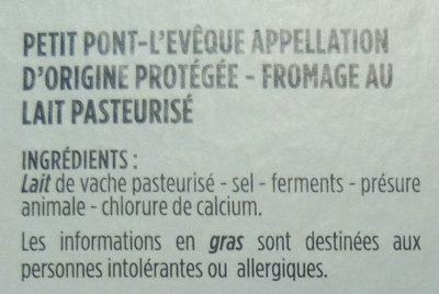 Petit Pont-L'Evêque - Ingrediënten - fr