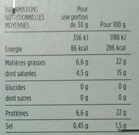 Petit Pont-L'Evêque - Voedingswaarden - fr