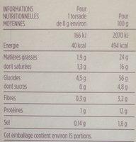 Torsades au Beurre et Sel - Informations nutritionnelles