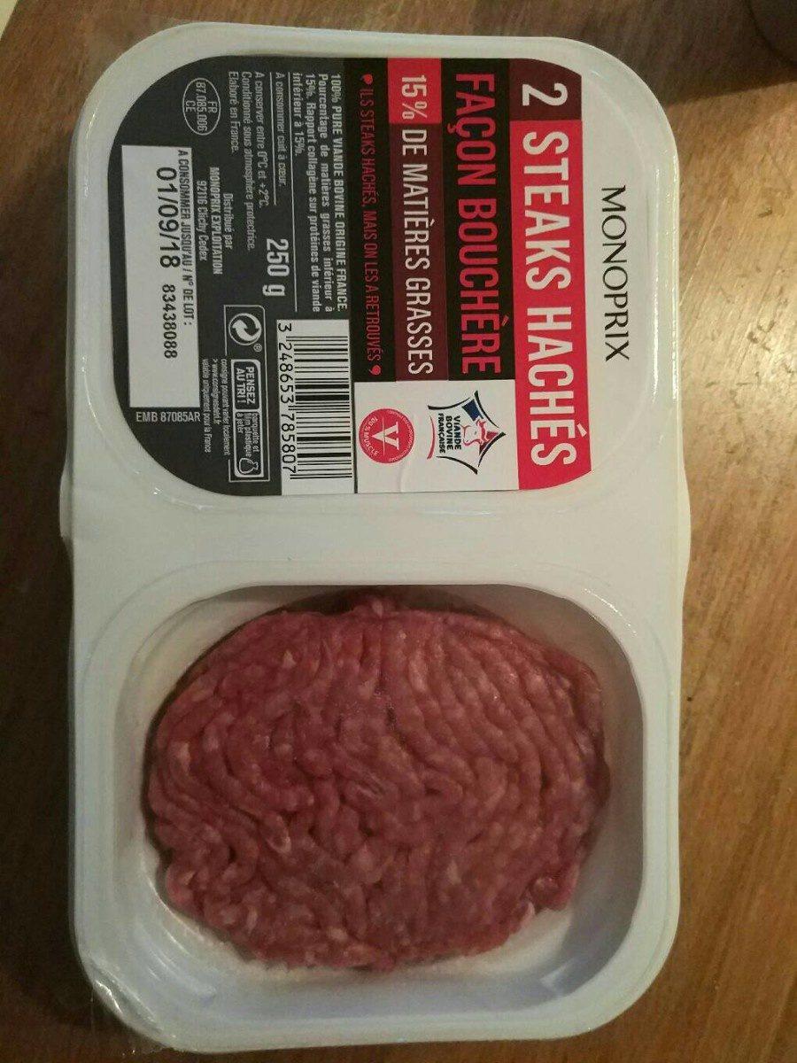 Steaks hachés pur boeuf, 15% de mat. Gr. - Produit