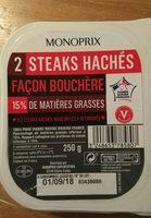 Steaks hachés pur boeuf, 15% de mat. Gr. - Ingrédients