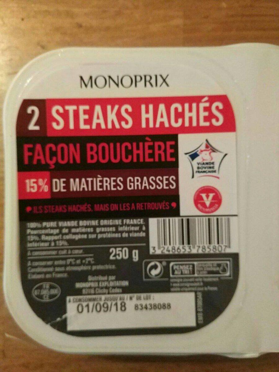 Steaks hachés pur boeuf, 15% de mat. Gr. - Informations nutritionnelles