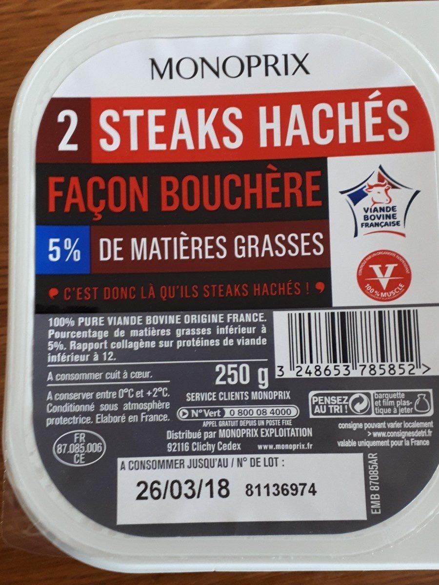 2 Steaks Hachés Façon Bouchère - Ingrédients - fr