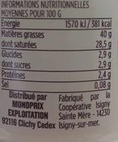Crème fraîche d'Isigny Épaisse - Nutrition facts - fr