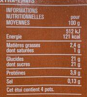 Crème caramel cuite et dorée au four - Informations nutritionnelles - fr
