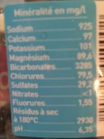 Eau minérale gazeuse - Ingrediënten - fr