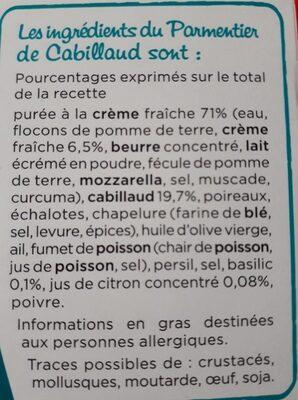 Parmentier de cabillaud - Ingrédients - fr