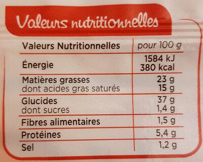 Pâte à tarte feuilletée - Pur beurre - Informations nutritionnelles