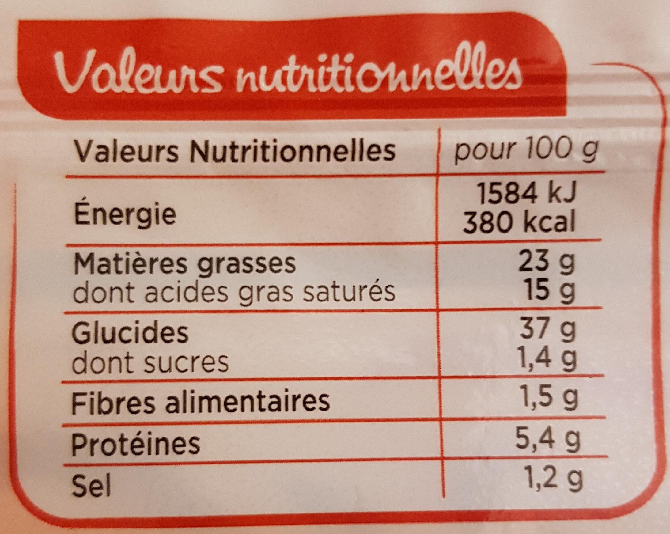 Pâte à tarte feuilletée - Pur beurre - Nutrition facts - fr