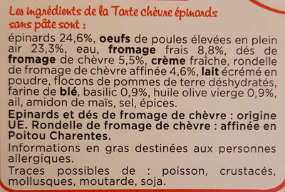 Tarte chèvre Epinard 180G Marie - sans pâte QTI - Ingredients - fr