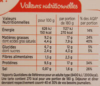 Tarte chèvre Epinard 180G Marie - sans pâte QTI - Nutrition facts - fr