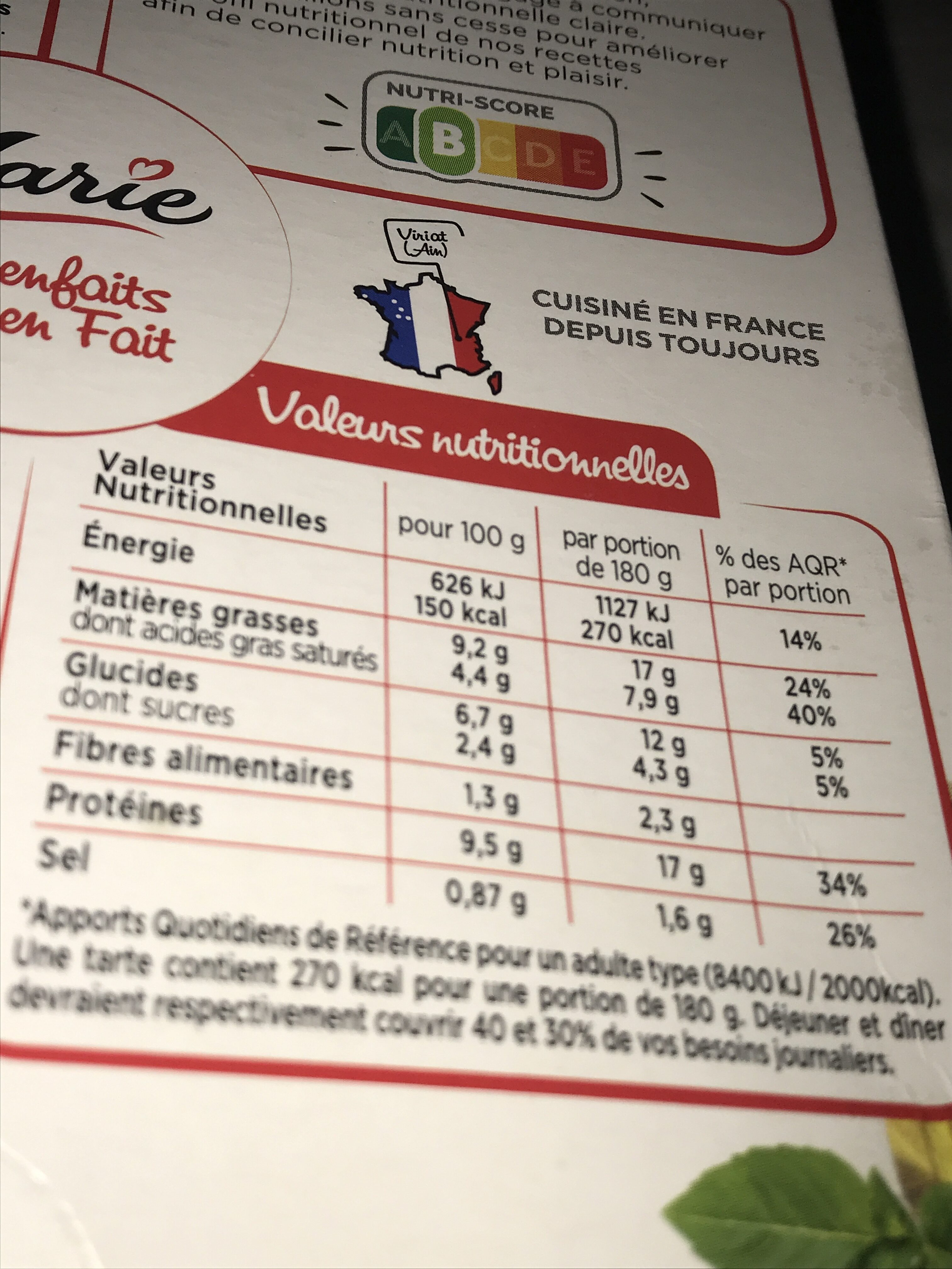 Tarte Chèvre épinard - Voedingswaarden