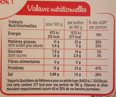 Tarte 3 fromages - Informations nutritionnelles - fr