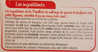 Papillote de Crevettes Petits légumes et riz - Ingrédients - fr