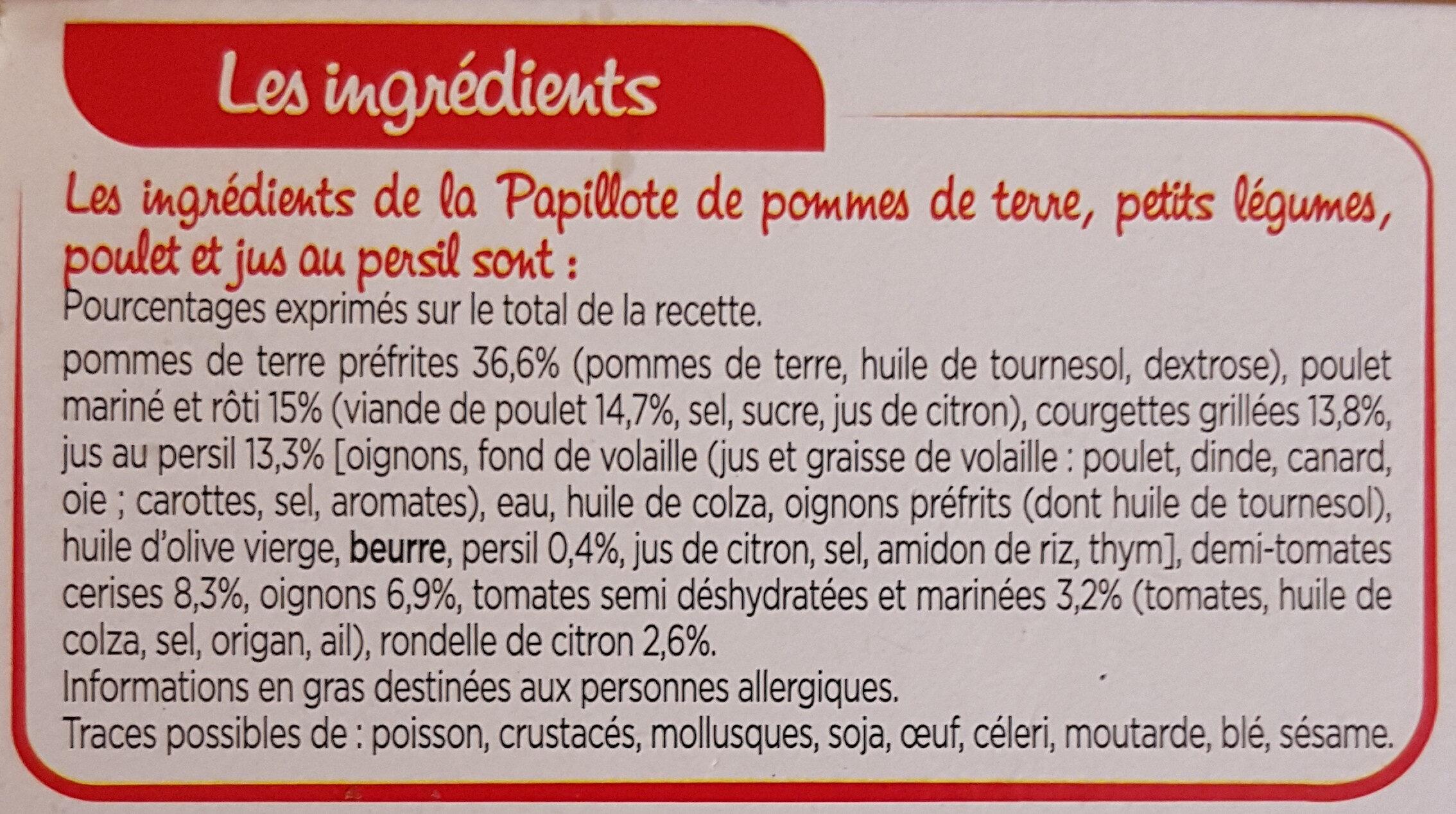 Papillote de poulet, pommes de terre et petits légumes - Ingrediënten - fr