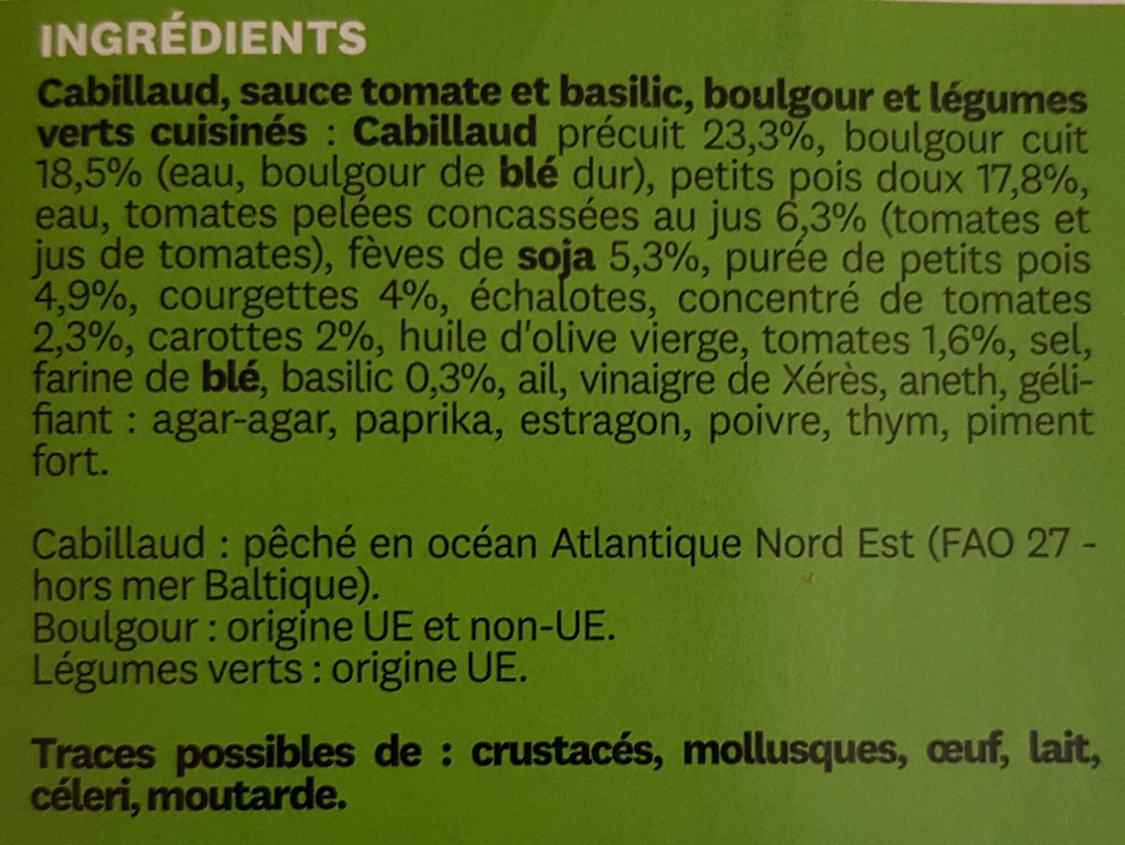 Cabillaud sauce tomate et basilic - Ingredients - fr
