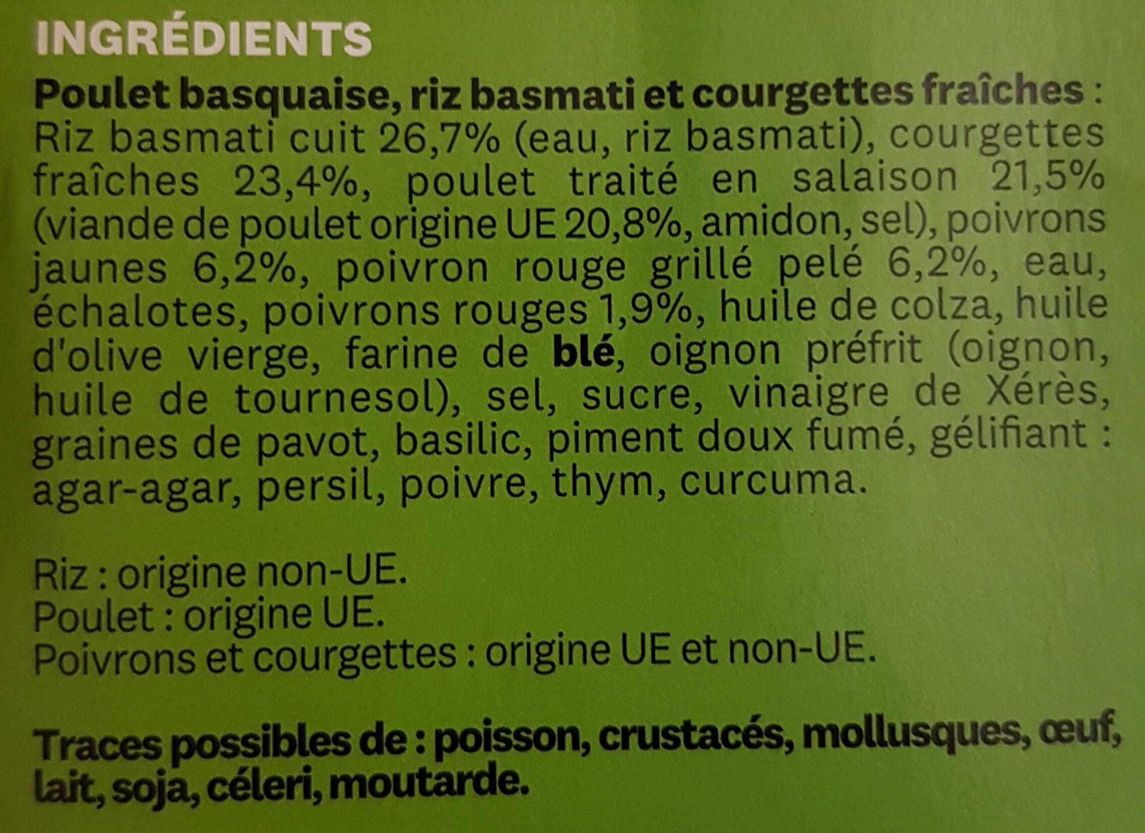 POULET BASQUAISE, RIZ ET COURGETTES WW 300G - Ingrédients - fr