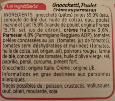 NAPLES - Gnocchetti poulet crème parmesan - Ingrédients - fr