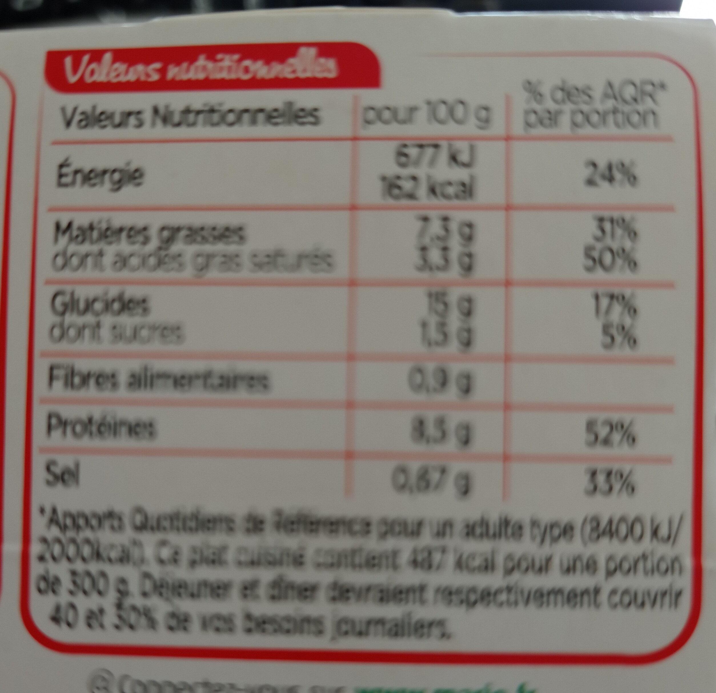 NAPLES - Gnocchetti poulet crème parmesan - Informations nutritionnelles - fr