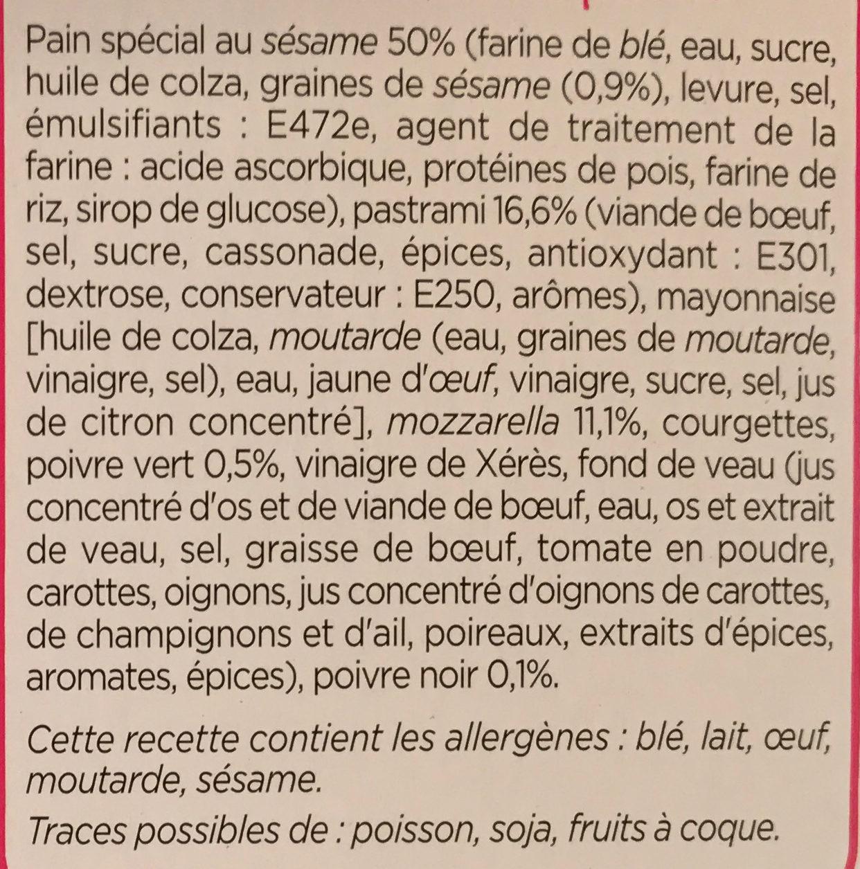 Bagel Pastrami Mozzarella sauce aux 2 poivres - Ingrédients - fr