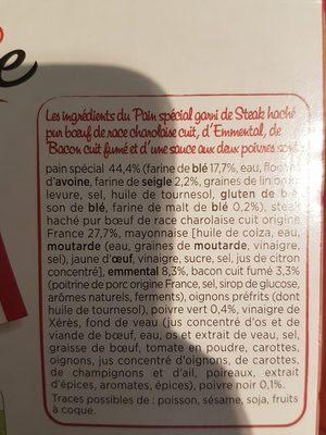 Burger Bacon - Bœuf Charolais Poivre - Ingrédients - fr