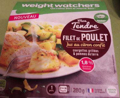 Mon Tendre Filet de poulet, jus au citron confit, courgettes grillées & pommes de terre - Product