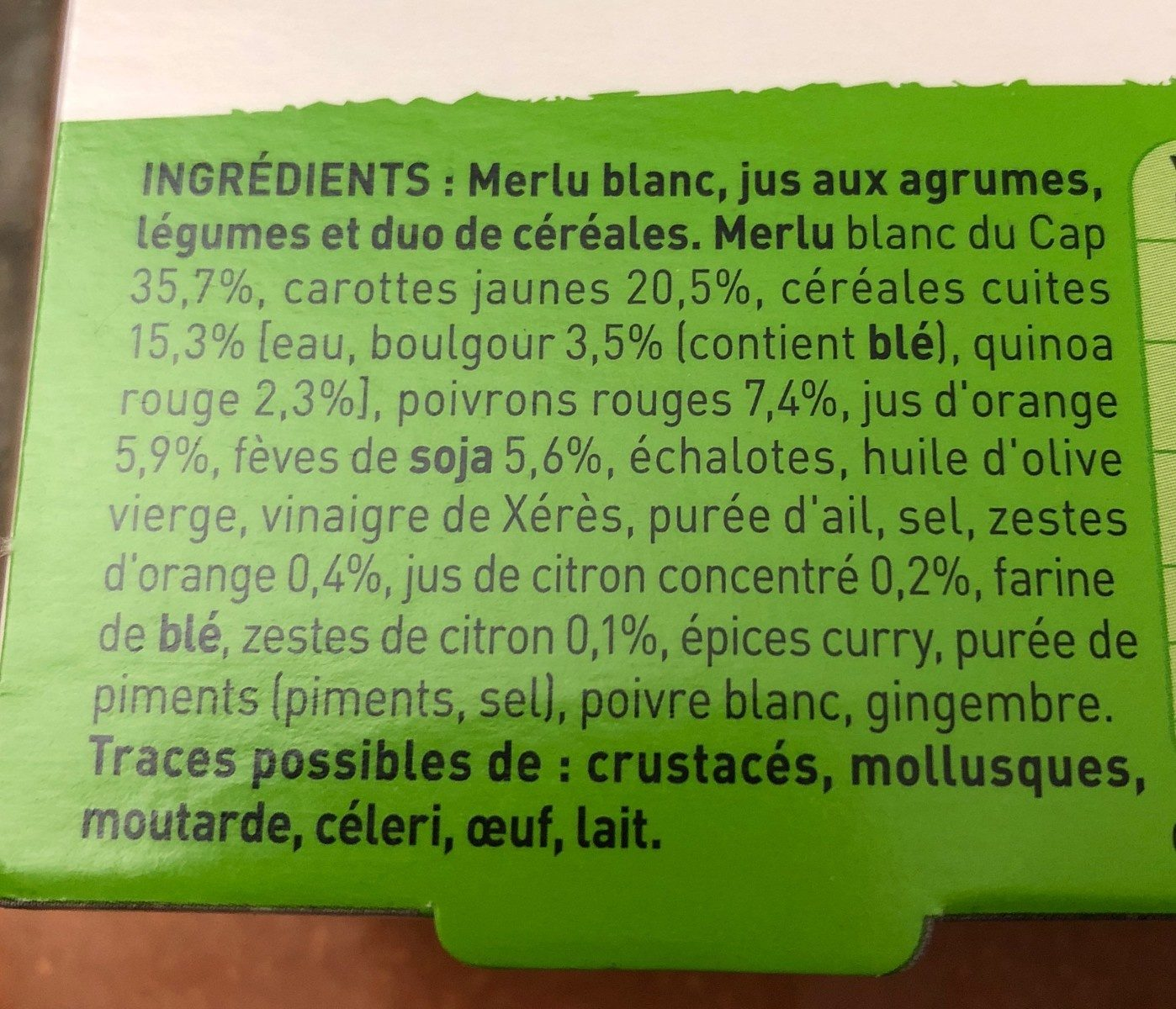 Mon Tendre Merlu Blanc, Jus aux agrumes - Ingredients