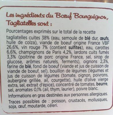 Boeuf Bourguignon, Tagliatelles - Ingredients - fr