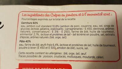 20 crêpes surgelées Jambon Emmental Marie - Ingrédients - fr