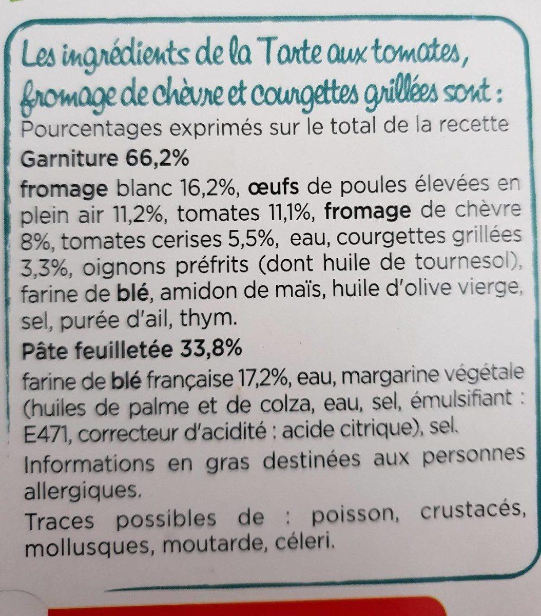 Tarte au chèvre, Tomates cerises et courgettes grillées - Ingrédients - fr