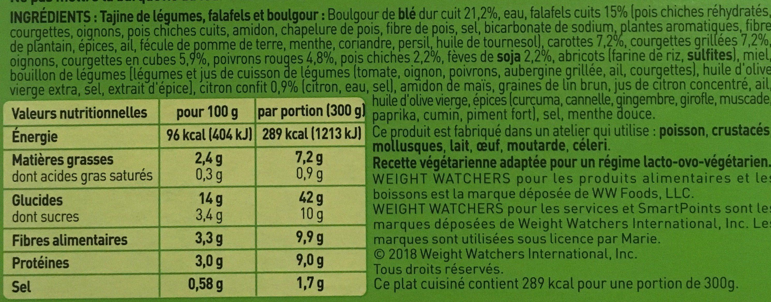 Tajine de légumes, falafels et boulgour - Ingrédients - fr